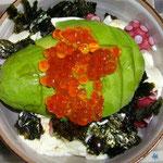 アボカドいくら丼ご飯は豆腐で水増し