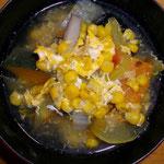 コーンとスイカの皮のかき玉スープ  昼