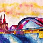 Köln mit Brücke, Dom und Rhein