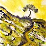 Hügellandschaft mit Baum