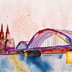 Köln mit Brücke und Rhein