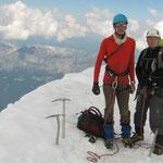 Jean-Charles et Franck sur l'arête de l'Aiguille du Gouter