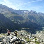 Sur le sentier qui mène au bivouac, au dessus du Val Ferret