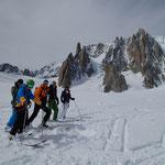 Sous le Grand Capucin et le Mont Blanc du Tacul face Est