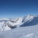 Du sommet, vue sur le Wildhorn et les géants des Alpes Bernoises en enfilade