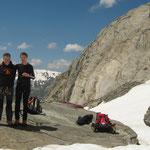 Hervé et Gérard sur le Glacier de Tré-La-Tête