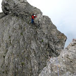 Passage scabreux en rocher délitée