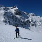 Sur le glacier de Tré la Tête, devant l'arête des Palissades