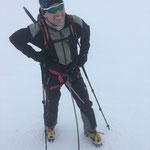 Stefan dans le mauvais temps au Dôme du Gouter
