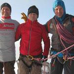 Fred, Olivier et Christophe au sommet du Mont-Blanc