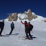 J-Paul, Marie, Fred et Pascal sur fond d'Aiguille du Midi
