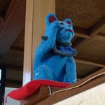 銭湯銀閣寺湯の青い招き猫