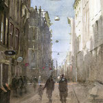 Warmoesstraat Amsterdam. Watercolour. 50 x 35 cm