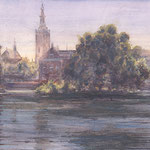 Commision House of Parlements The Netherlands, Hofvijver. Watercolour 55 x 140 cm. Opdracht Tweede Kamer der Statengeneraal. Aquarel 55 x 140 cm