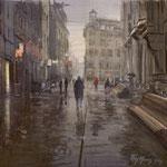 Lange Poten Den Haag. Watercolour. 40 x 40 cm SOLD