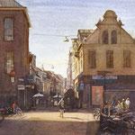 Zwanestraat vanaf Grote Markt Groningen. Watercolour. 40 x 40 cm