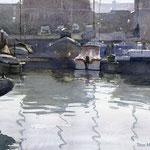 Jachthaven Scheveningen II. Watercolour. 30 x 40 cm