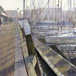 Jachthaven Scheveningen. Watercolour. 35 x 50 cm