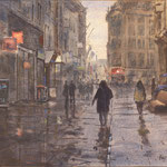 Commision House of Parlements The Netherlands. Lange Poten rainy day. Watercolour 55 x 100 cm. Opdracht Tweede Kamer der Statengeneraal. Lange Poten, regen. Aquarel 55 x 100 cm
