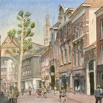 Winkelfiliaal Nelson Haarlem. Aquarel. 50 x 70 cm. Jubileum geschenk Nelson Schoenen