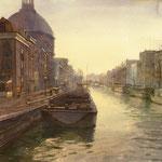 Singel Amsterdam. Watercolour. 80 x 80 cm