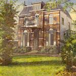 Villa in Velp. Aquarel 50 x 50 cm. Geschenk tgv Pensioen