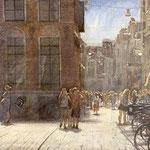 Vismarkt - Folkingestraat Groningen. Watercolour. 35 x 60 cm