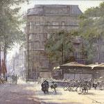 Buitenhof Maison de Bonneterie Den Haag. Watercolour. 35 x 50 cm