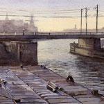 Spoorbrug Haarlem. Watercolour. 25 x 40 cm SOLD