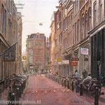 Binnen Bantammerstraat Amsterdam. Aquarel. 35 x 50 cm