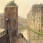 Oude Gracht Utrecht. Watercolour. 30 x 40 cm