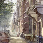 Jan van Nassaustraat Den Haag II. Watercolour. 40 x 38 cm
