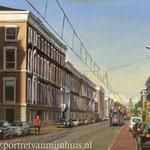 Parkstraat Den Haag. Olieverf op doek. 35 x 50 cm. Jubileum geschenk Dröge en van Drimmelen
