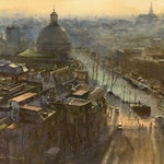 Ronde Lutherse Kerk Singel Amsterdam II. Watercolour. 45 x 45 cm SOLD