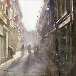 Koningsdag in de Molenstraat Den Haag. Watercolour. 40 x 40 cm SOLD