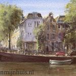 Prinsengracht Amsterdam, watercolour 35 x 60 cm