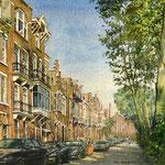 Bredeweg Amsterdam. Aquarel 35 x 50 cm. Huwelijkscadeau