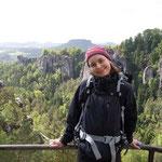 Himmelfahrt wurde auch geklettert; neue Freunde des Sächsischen Kletterns: Nicole, . . .