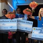 Die Siegerinnen des Kaiserlaufs: vlnr. Biwott Ladys-Jepkurui, Chepkemei Christine, Berna Schuster