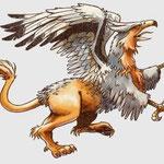 le griffon, hybride d'aigle et de lion.