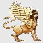 le sphinx, hybride de femme, de lion et d'aigle (ailes).