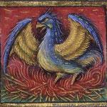 Enluminure de phoenix (oiseau qui renaît de ses cendres)