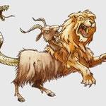 la chimère, hybride de bouc, de lion et de serpent.