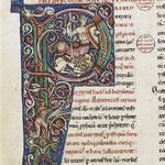 Lettre historiée représentant un centaure