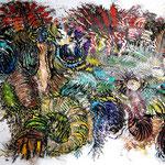 Crazy Creatures /Tusche, Scherenschnitt mit Aquarell hinterlegt / 110 x 75 cm /Indian ink, paper cut with background in watercolours / 2021