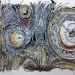 Crazy Creatures IV / Aquarell, Scherenschnitt mit Tusche hinterlegt / Aquarell, paper cut with background in Indian ink / 110 x 75 cm / 2016