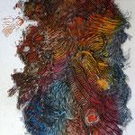 Crazy Creatures III  Tusche, Scherenschnitt mit Farbkreiden hinterlegt / Indian ink, paper cut with background in coloured chalk /  75 x 110 cm / 2015