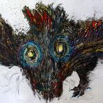 Crazy Creatures II / Tusche, Scherenschnitt mit Aquarell hinterlegt / Indian ink, paper cut with background in watercolours /  110 x 75 cm / 2015