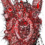 Crazy Creatures Series, Indian ink/Tusche, cut out/Scherenschnitt, acrylic underlay/mit Actly hinterlegt, 75 x 110 cm, 2021