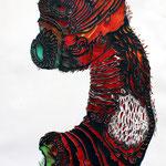 Crazy Creatures I / Tusche, Scherenschnitt mit Acryl hinterlegt / Indian ink, paper cut with background in acrylic / 35 x 45,5 cm / 2015